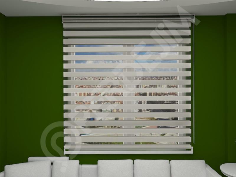 Bambu Zebra Perde Beyaz Ekru Ekonomik