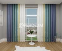Lacivert & Azur Mavisi & Sarı Dikey Tül Perde