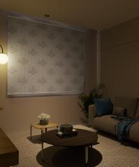 Double Mechanism White Sultan Patterned Tulle Roller Blinds